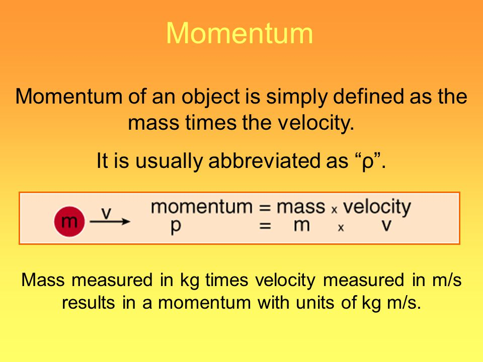 Momentum Momentum of an object is simply defined as the mass times the velocity. It is usually abbreviated as ρ. Mass measured in kg times velocity me