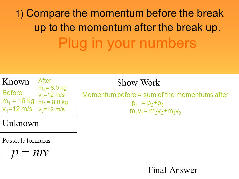 1) Compare the momentum before the break up to the momentum after the break up. Plug in your numbers Known Possible formulas Show Work Final Answer Un