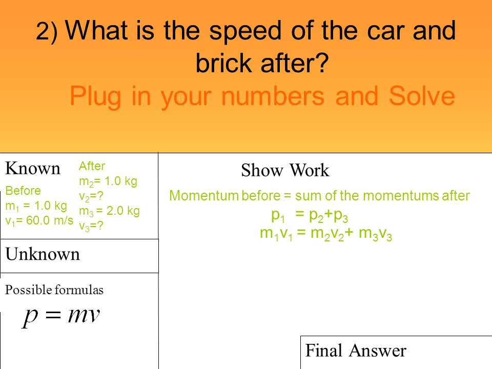 2) What is the speed of the car and brick after? Plug in your numbers and Solve Known Possible formulas Show Work Final Answer Unknown Before m 1 = 1.