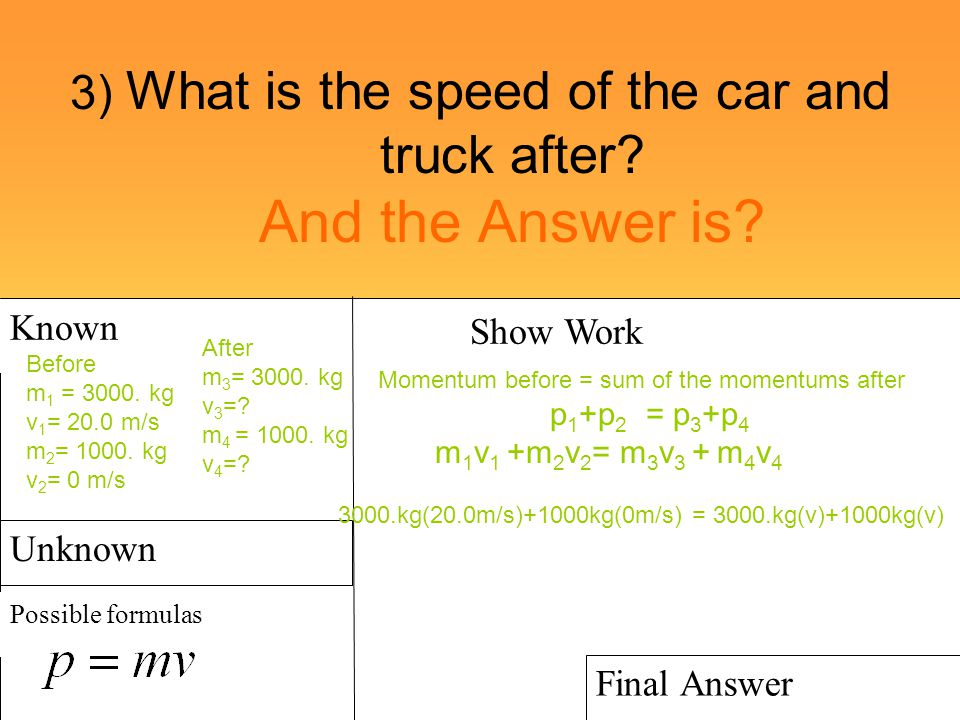 3) What is the speed of the car and truck after? And the Answer is? Known Possible formulas Show Work Final Answer Unknown Before m 1 = 3000. kg v 1 =