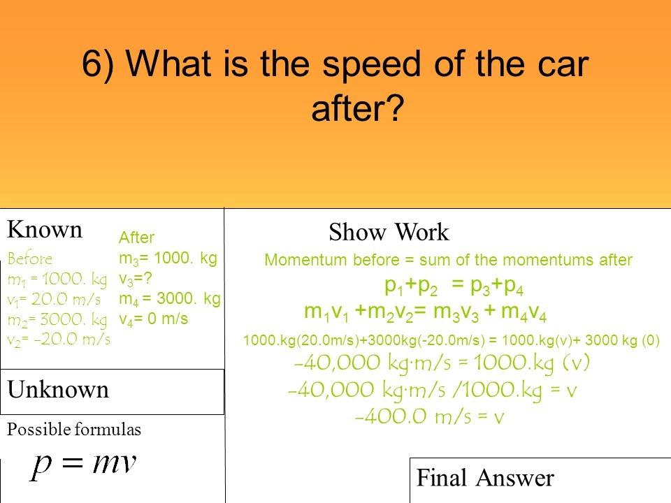 6) What is the speed of the car after? Known Possible formulas Show Work Final Answer Before m 1 = 1000. kg v 1 = 20.0 m/s m 2 = 3000. kg v 2 = -20.0