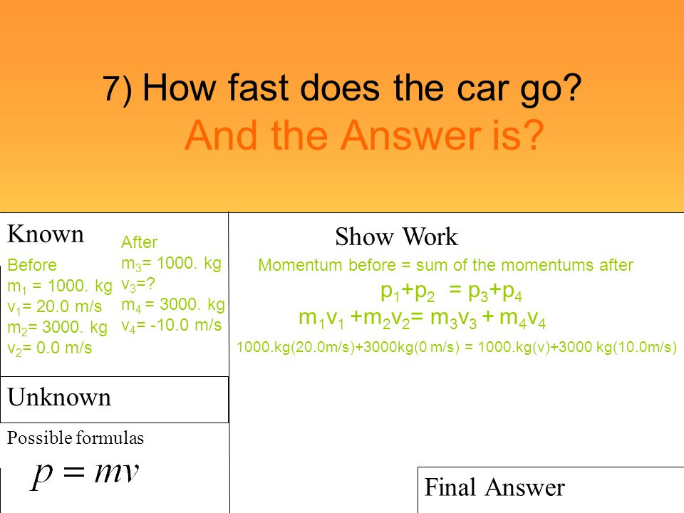 7) How fast does the car go? And the Answer is? Known Possible formulas Show Work Final Answer Before m 1 = 1000. kg v 1 = 20.0 m/s m 2 = 3000. kg v 2