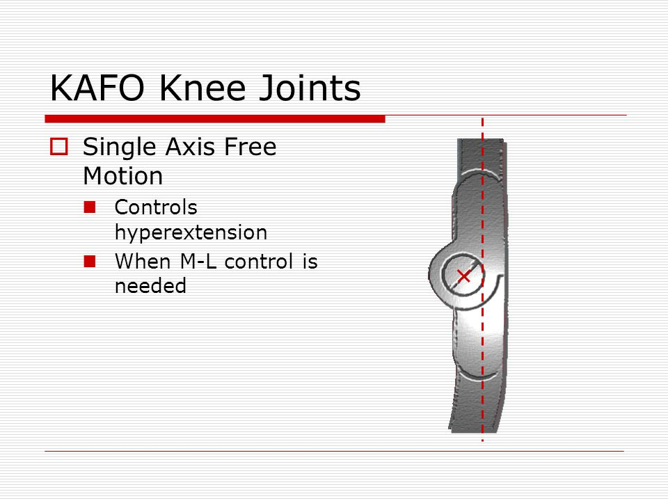 KAFO Knee Joints Offset Free Motion Axis is posterior Increased knee extension stability