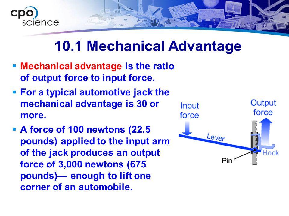 10.1 Mechanical Advantage Output force (N) Input force (N) Mechanical advantage