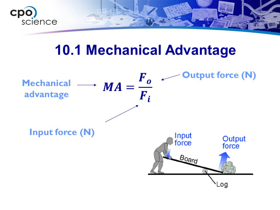 10.2 Work (force at angle to distance) W = Fd cos ( ) Distance (m) Force (N) Work (joules) Angle