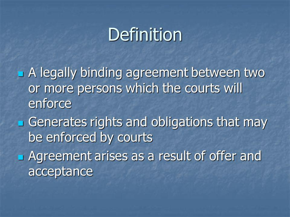 Definition A legally binding agreement between two or more persons which the courts will enforce A legally binding agreement between two or more perso