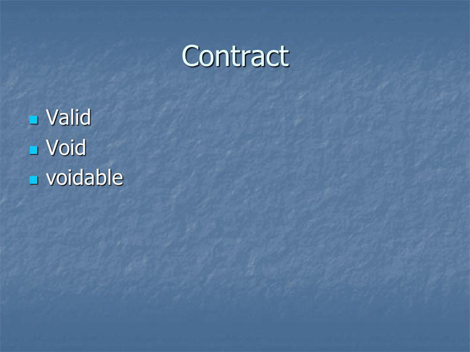Contract Valid Valid Void Void voidable voidable