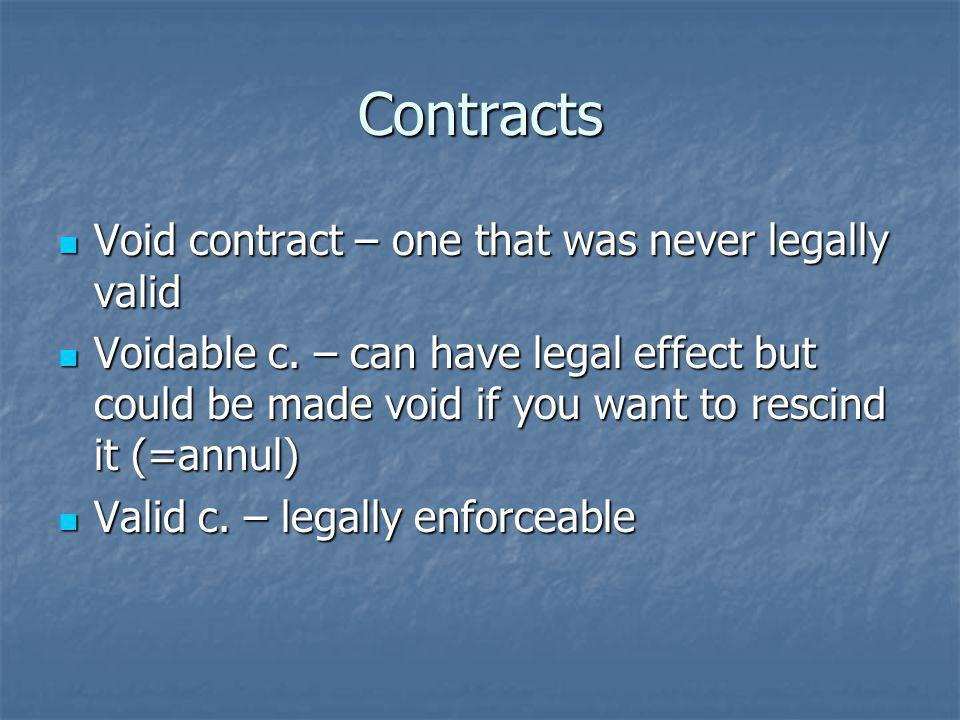 Contracts Void contract – one that was never legally valid Void contract – one that was never legally valid Voidable c.