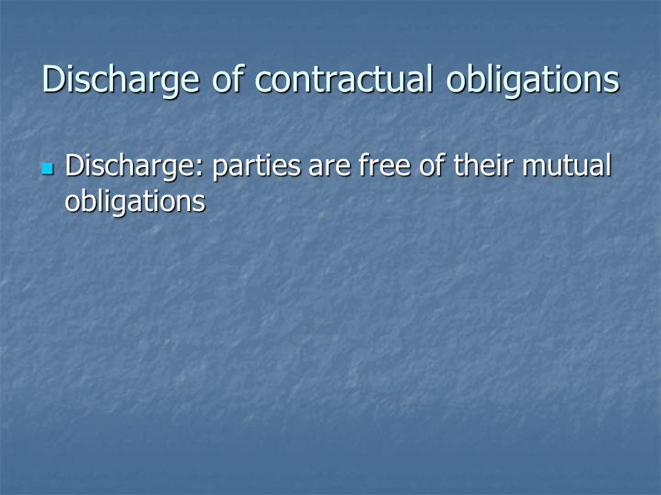 Discharge of contractual obligations Discharge: parties are free of their mutual obligations Discharge: parties are free of their mutual obligations