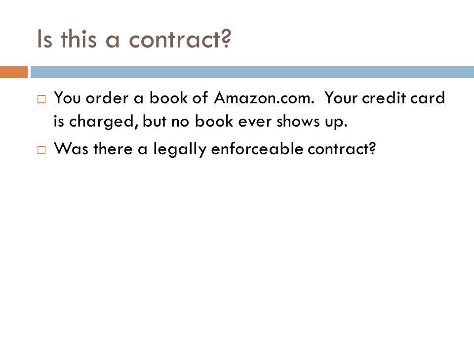 Is this a contract. You order a book of Amazon.com.