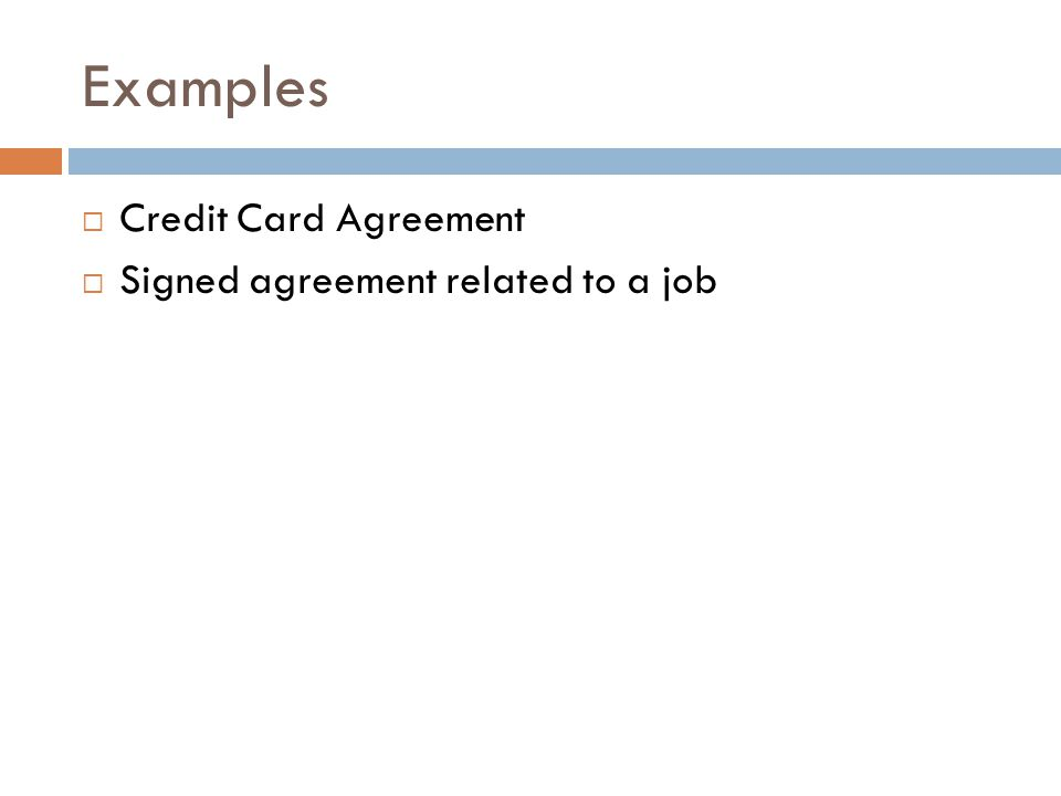 Examples Credit Card Agreement Signed agreement related to a job