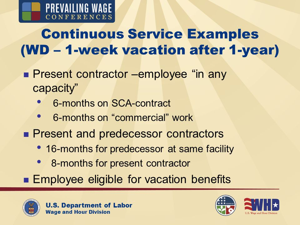 U.S. Department of Labor Wage and Hour Division Continuous Service Examples (WD – 1-week vacation after 1-year) Present contractor –employee in any ca