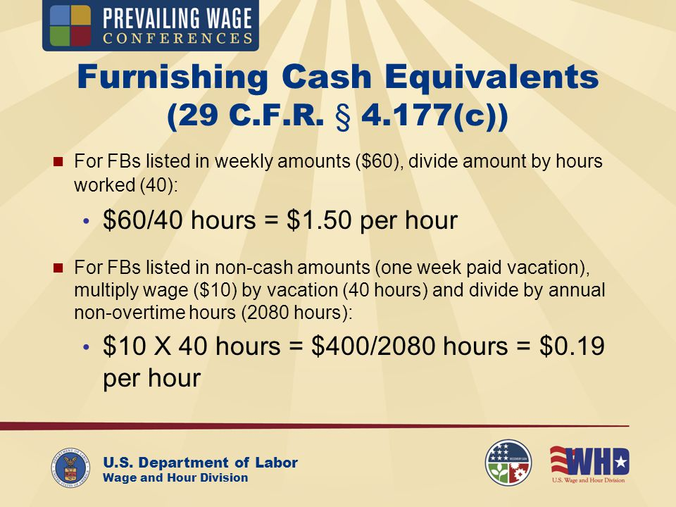 U.S. Department of Labor Wage and Hour Division Furnishing Cash Equivalents (29 C.F.R.