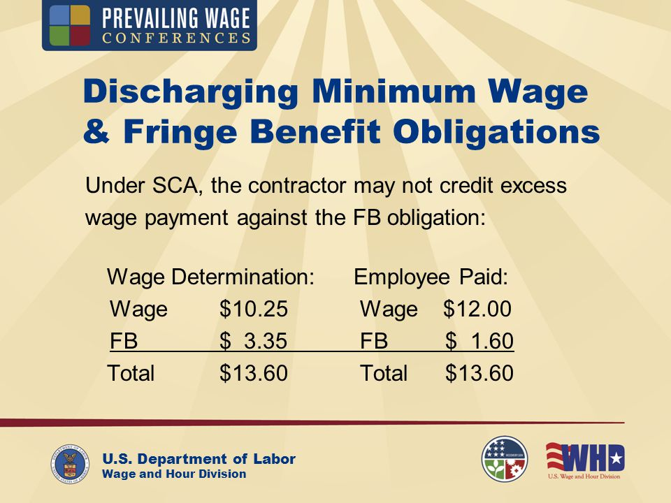 U.S. Department of Labor Wage and Hour Division Discharging Minimum Wage & Fringe Benefit Obligations Under SCA, the contractor may not credit excess