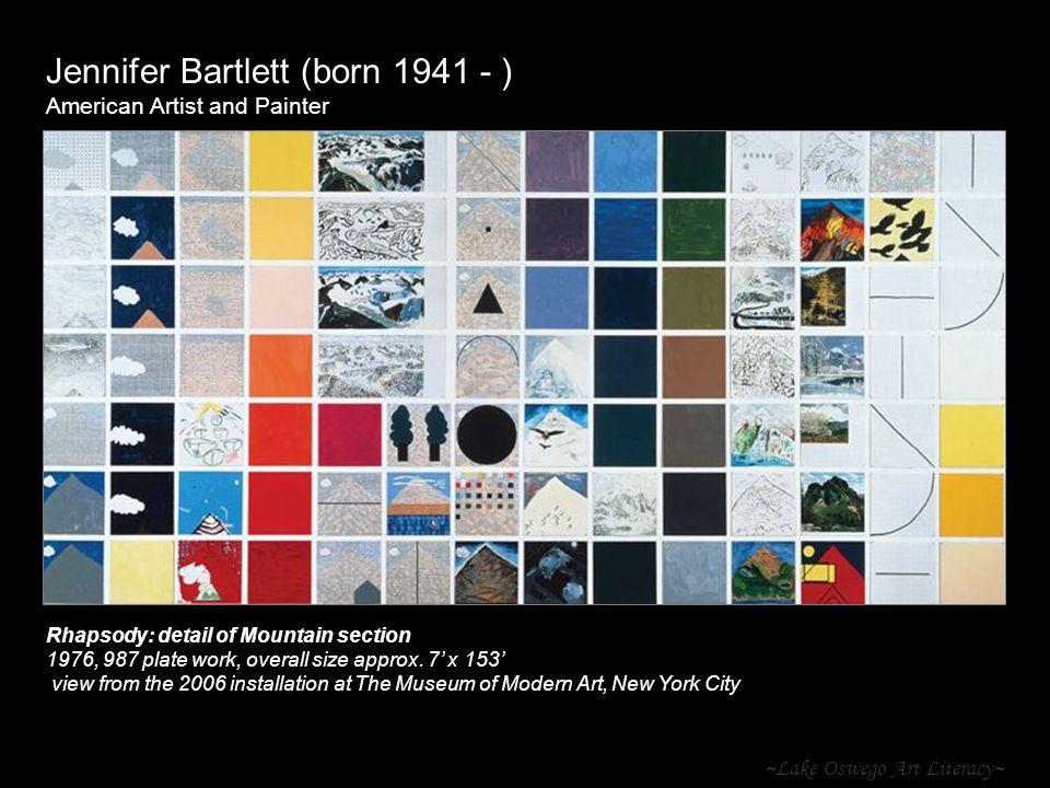 ~Lake Oswego Art Literacy~ Jennifer Bartlett (born 1941 - ) American Artist and Painter Rhapsody: detail of Mountain section 1976, 987 plate work, ove