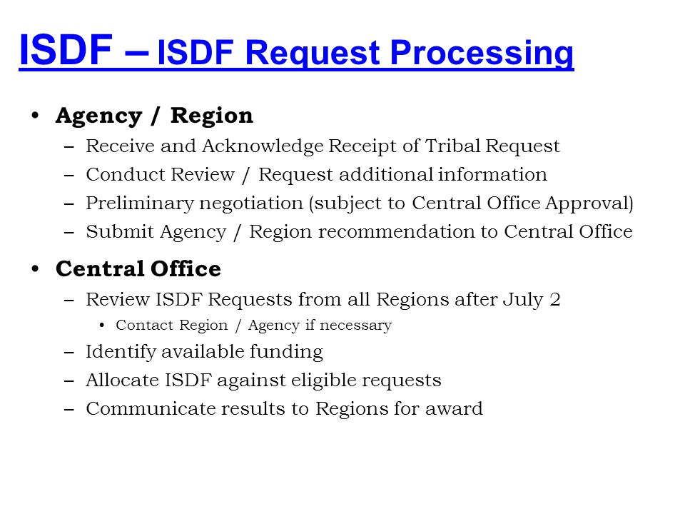 ISDF – Tribal ISDF Request 106(a)(1) Program Contracted/Compacted –Identify Program –Provide Program Budget (Tribal) Indian Self-Determination Fund Re