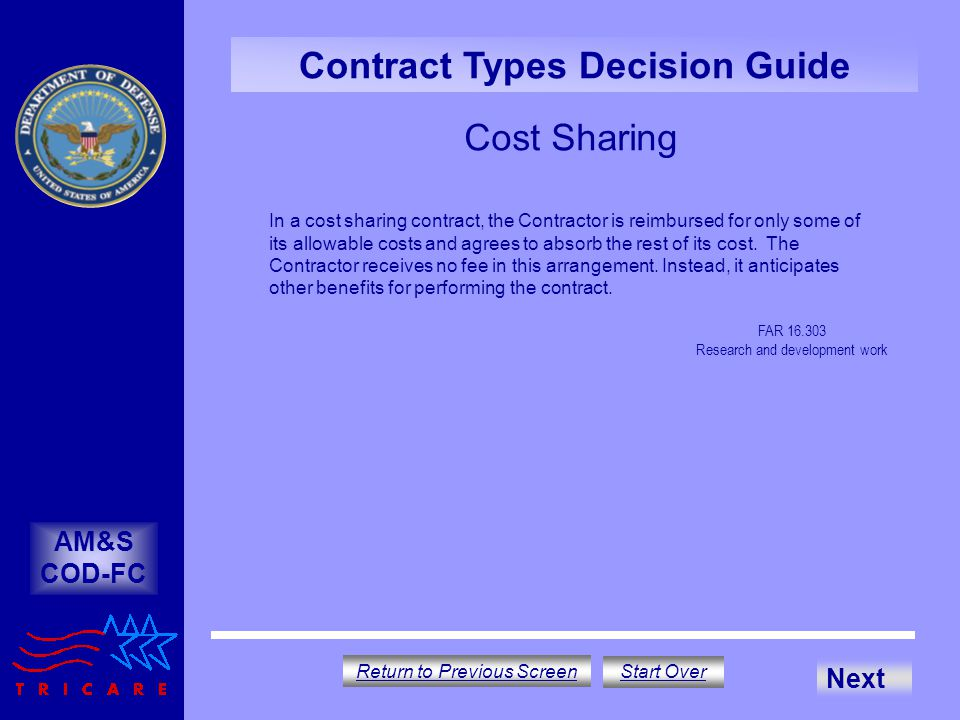 Cost Sharing AM&S COD-FC Contract Types Decision Guide FAR 16.303 Research and development work In a cost sharing contract, the Contractor is reimbursed for only some of its allowable costs and agrees to absorb the rest of its cost.