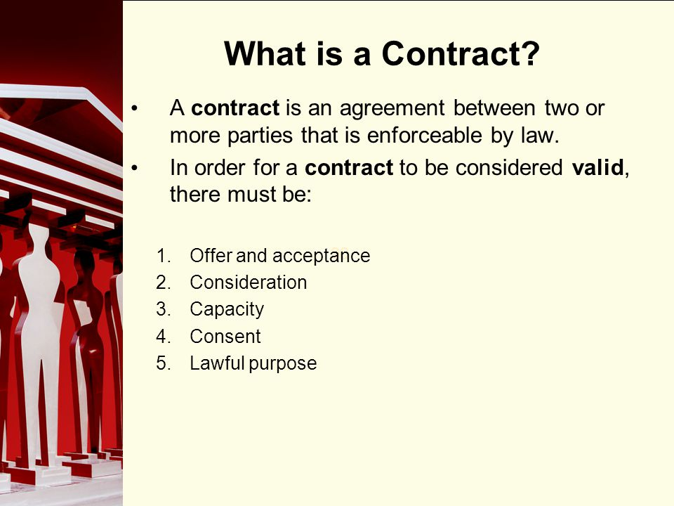 90 Offer, Acceptance, Consideration In every valid contract, offer, acceptance and consideration are vital aspects.