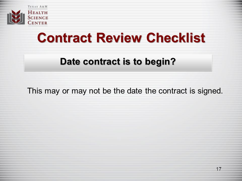 Contract Review Checklist Date contract ends.