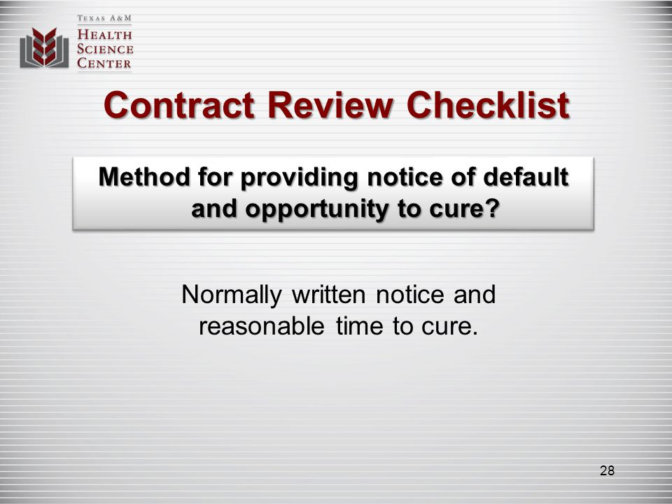 Contract Review Checklist Rights, obligations, duties of every party clearly listed.