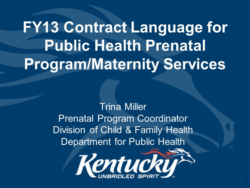 FY13 Contract Language for Public Health Prenatal Program/Maternity Services Trina Miller Prenatal Program Coordinator Division of Child & Family Health Department for Public Health 1