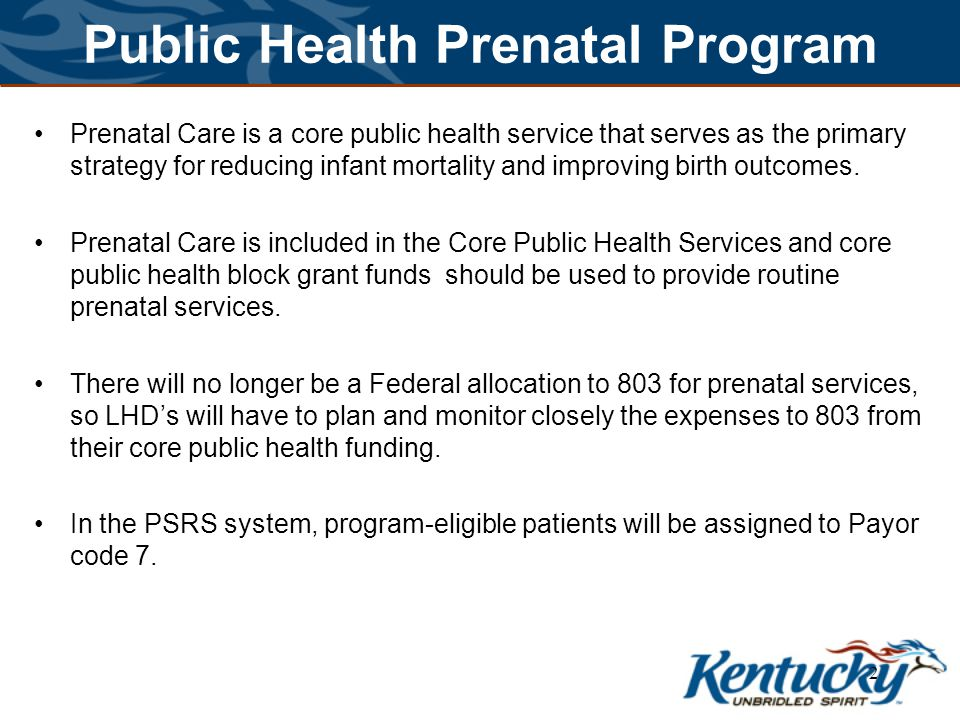 Public Health Prenatal Program Maternity funding may be accessed through local funds, Medicaid and other payors, or the core public health block grant.