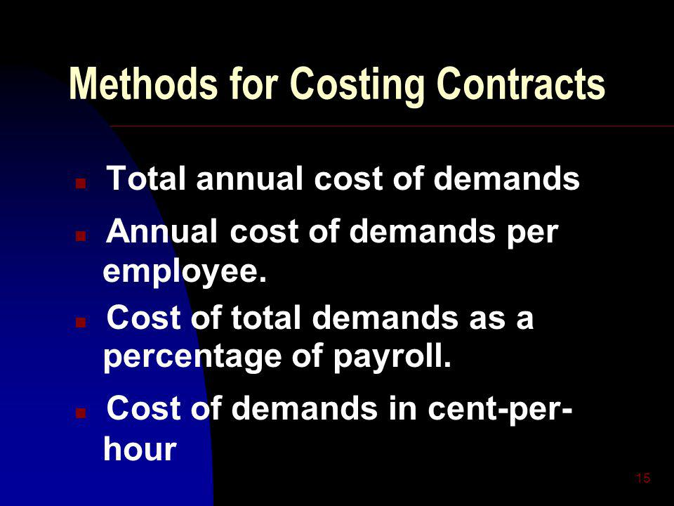 15 Methods for Costing Contracts n Total annual cost of demands n Annual cost of demands per employee.