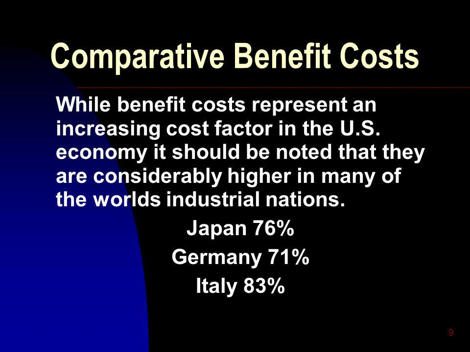 9 Comparative Benefit Costs While benefit costs represent an increasing cost factor in the U.S.