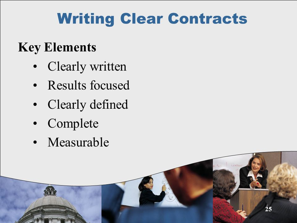25 Key Elements Clearly written Results focused Clearly defined Complete Measurable Writing Clear Contracts