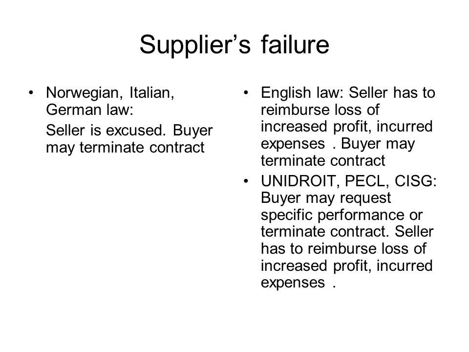 Suppliers failure Norwegian, Italian, German law: Seller is excused.