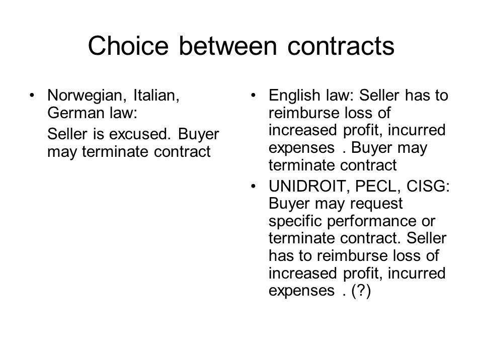 Choice between contracts Norwegian, Italian, German law: Seller is excused.