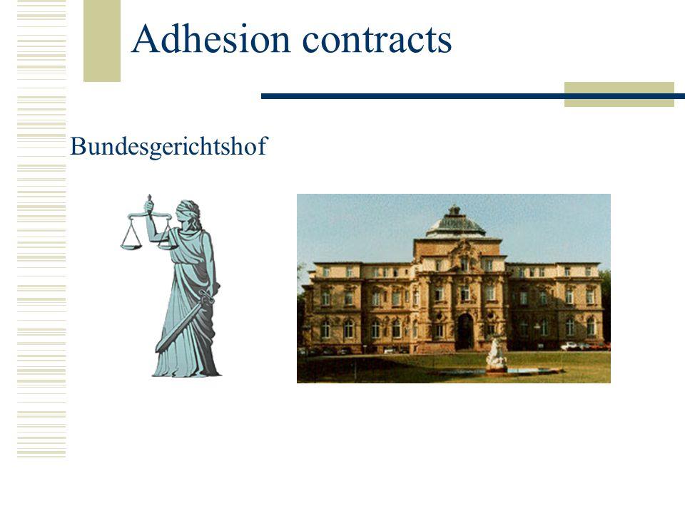 Adhesion contracts Bundesgerichtshof