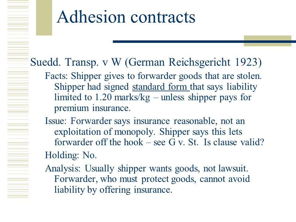 Adhesion contracts Suedd. Transp.