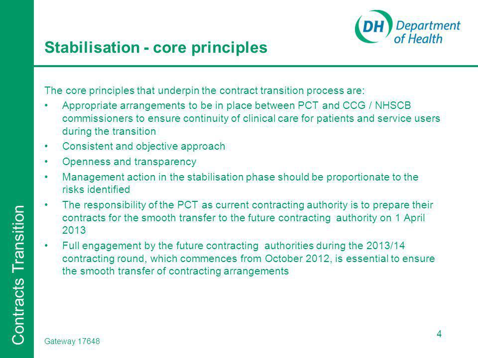Contracts Transition Stabilisation - core principles The core principles that underpin the contract transition process are: Appropriate arrangements to be in place between PCT and CCG / NHSCB commissioners to ensure continuity of clinical care for patients and service users during the transition Consistent and objective approach Openness and transparency Management action in the stabilisation phase should be proportionate to the risks identified The responsibility of the PCT as current contracting authority is to prepare their contracts for the smooth transfer to the future contracting authority on 1 April 2013 Full engagement by the future contracting authorities during the 2013/14 contracting round, which commences from October 2012, is essential to ensure the smooth transfer of contracting arrangements 4 Gateway 17648