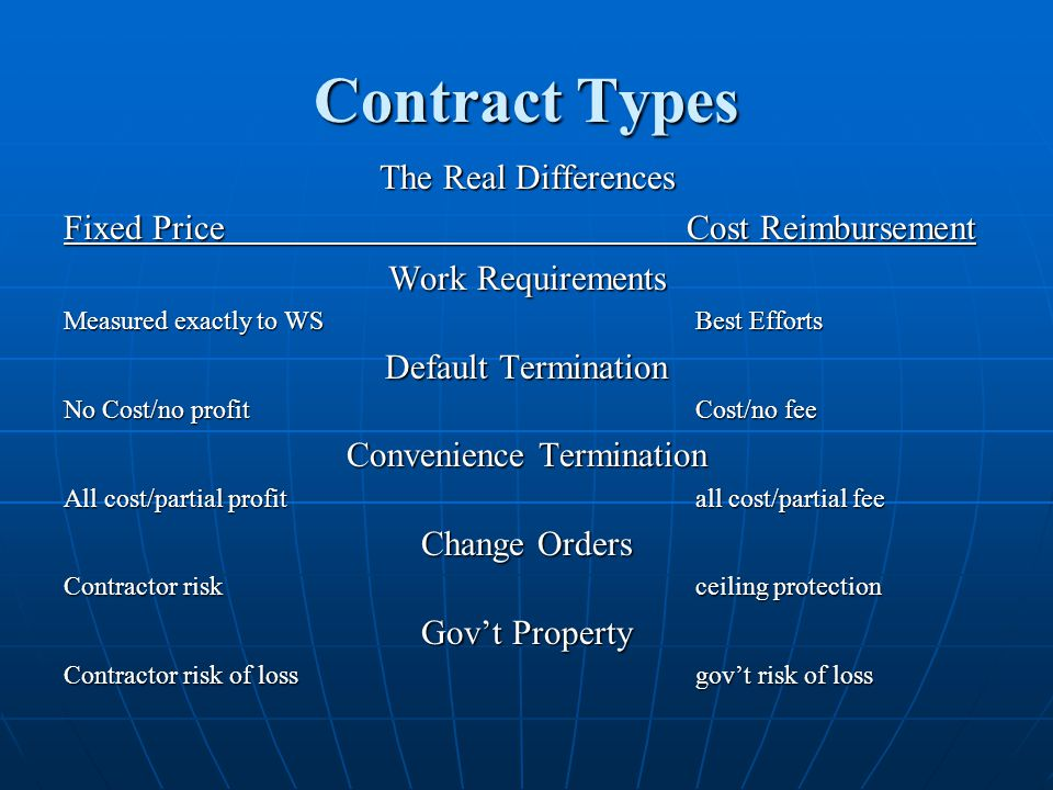 Contract Types The Real Differences Fixed Price Cost Reimbursement Work Requirements Measured exactly to WSBest Efforts Default Termination No Cost/no profitCost/no fee Convenience Termination All cost/partial profitall cost/partial fee Change Orders Contractor risk ceiling protection Govt Property Contractor risk of lossgovt risk of loss