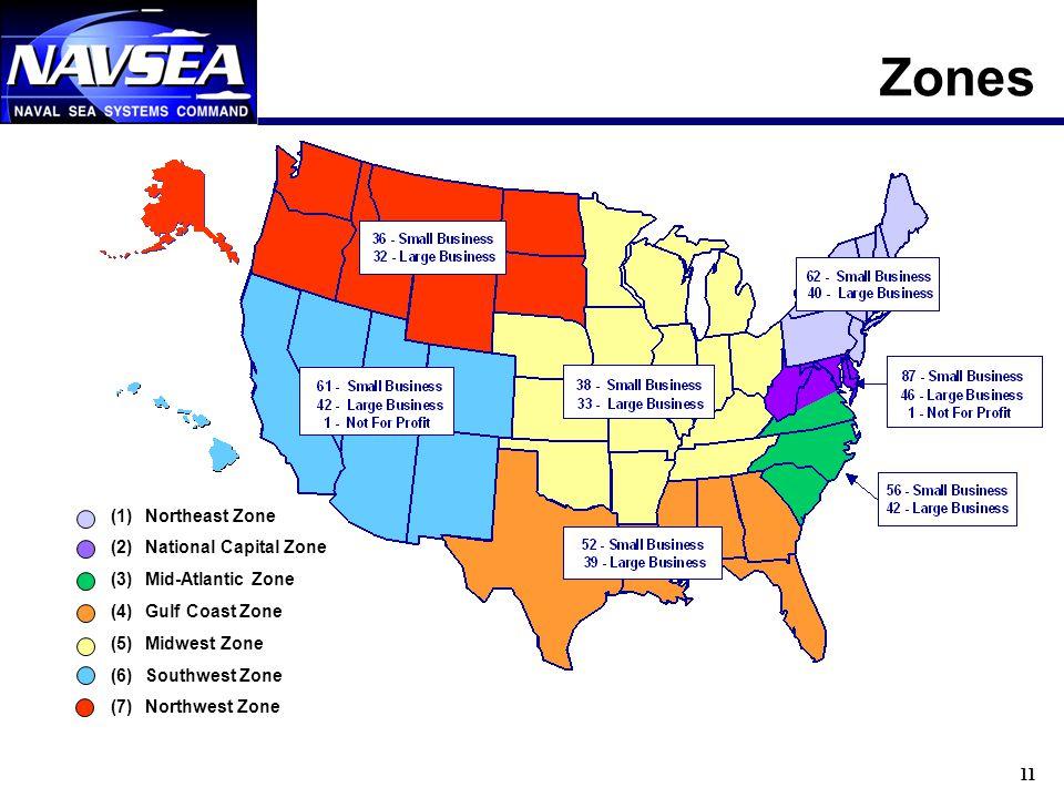 11 Zones (1)Northeast Zone (2)National Capital Zone (3)Mid-Atlantic Zone (4)Gulf Coast Zone (5)Midwest Zone (6)Southwest Zone (7)Northwest Zone