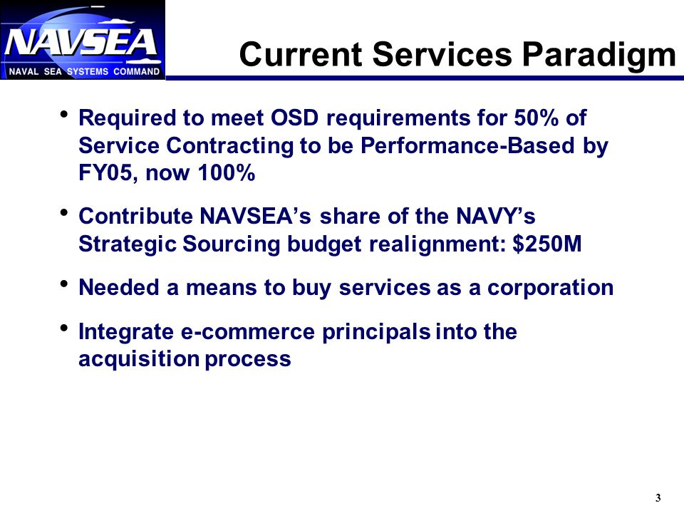 3 Current Services Paradigm Required to meet OSD requirements for 50% of Service Contracting to be Performance-Based by FY05, now 100% Contribute NAVSEAs share of the NAVYs Strategic Sourcing budget realignment: $250M Needed a means to buy services as a corporation Integrate e-commerce principals into the acquisition process
