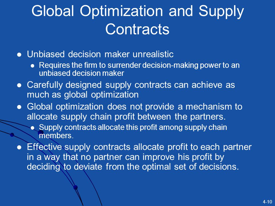 4-10 Global Optimization and Supply Contracts Unbiased decision maker unrealistic Requires the firm to surrender decision-making power to an unbiased