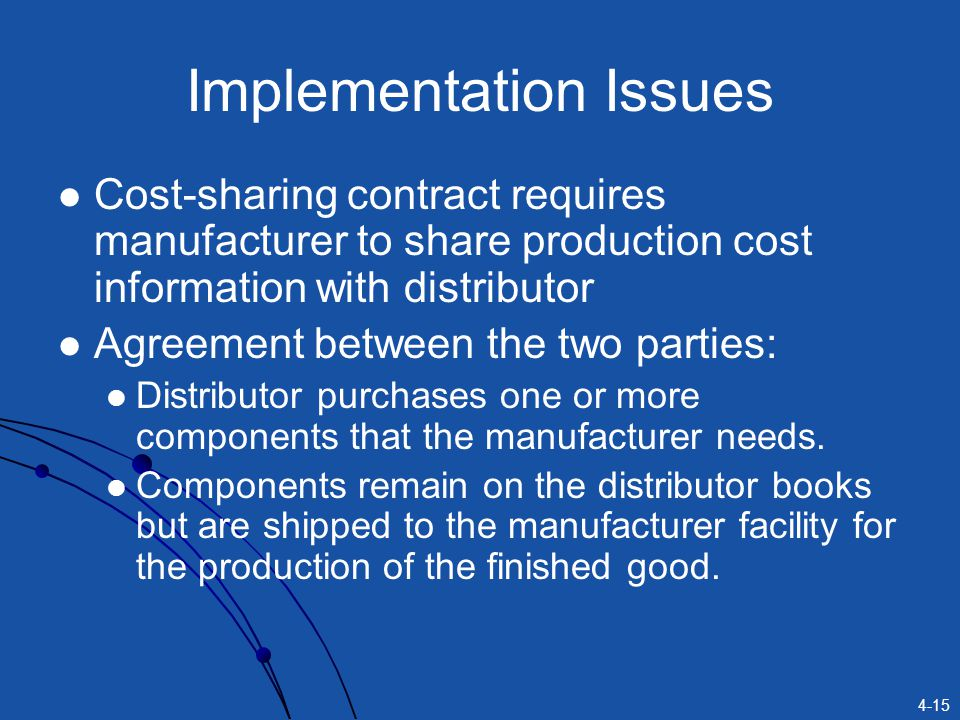 4-15 Implementation Issues Cost-sharing contract requires manufacturer to share production cost information with distributor Agreement between the two