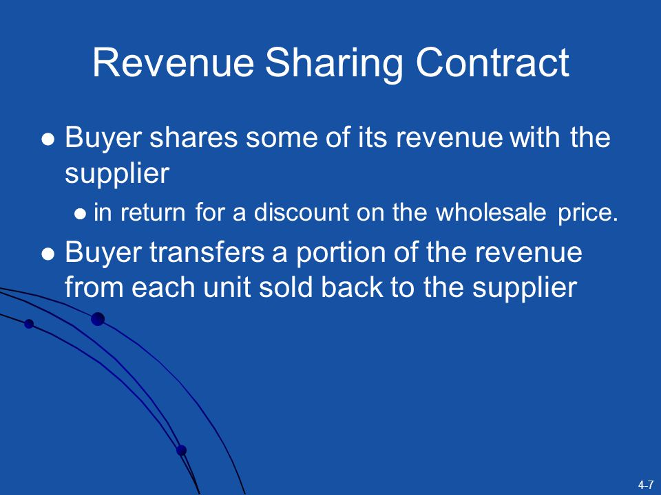 4-8 Other Types of Contracts Quantity-Flexibility Contracts Supplier provides full refund for returned (unsold) items As long as the number of returns is no larger than a certain quantity.