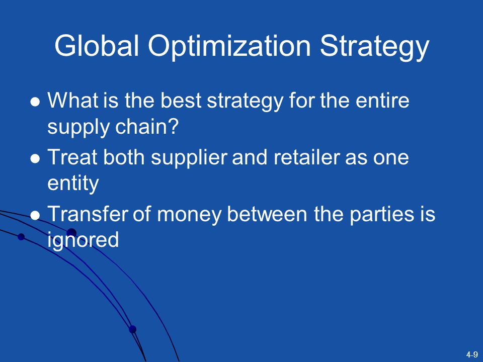4-9 Global Optimization Strategy What is the best strategy for the entire supply chain? Treat both supplier and retailer as one entity Transfer of mon