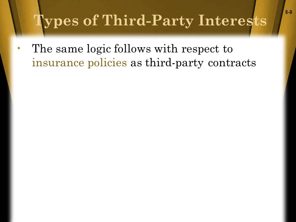 5-9 Types of Third-Party Interests The same logic follows with respect to insurance policies as third-party contracts