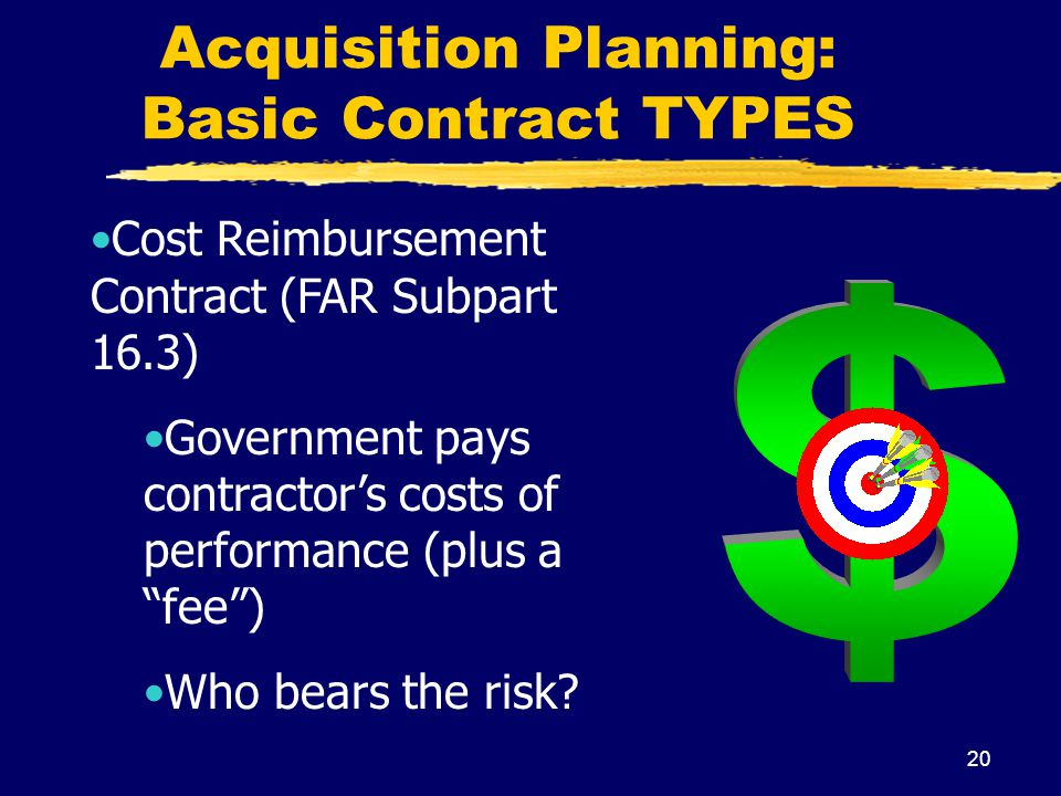 20 Acquisition Planning: Basic Contract TYPES Cost Reimbursement Contract (FAR Subpart 16.3) Government pays contractors costs of performance (plus a