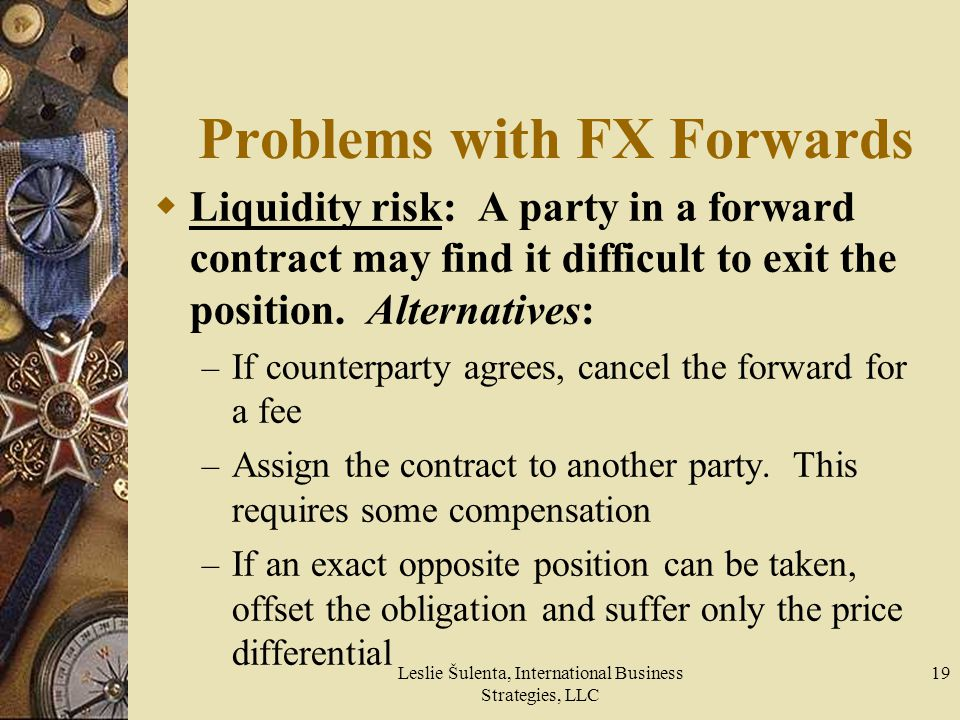 Leslie Šulenta, International Business Strategies, LLC 19 Problems with FX Forwards Liquidity risk: A party in a forward contract may find it difficul