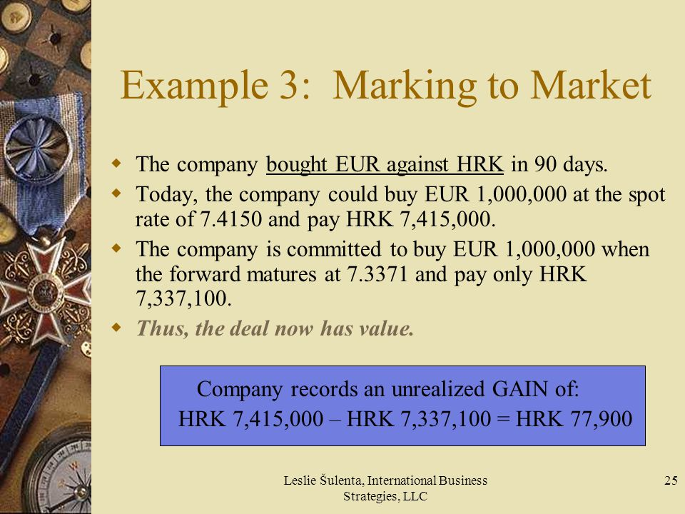 Leslie Šulenta, International Business Strategies, LLC 25 Example 3: Marking to Market The company bought EUR against HRK in 90 days. Today, the compa