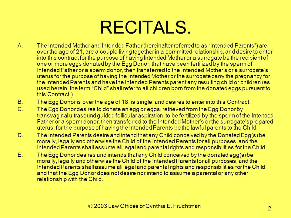 © 2003 Law Offices of Cynthia E. Fruchtman 2 RECITALS.