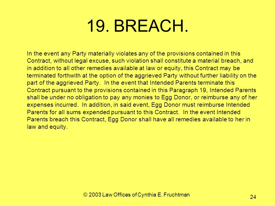 © 2003 Law Offices of Cynthia E. Fruchtman 24 19.BREACH.