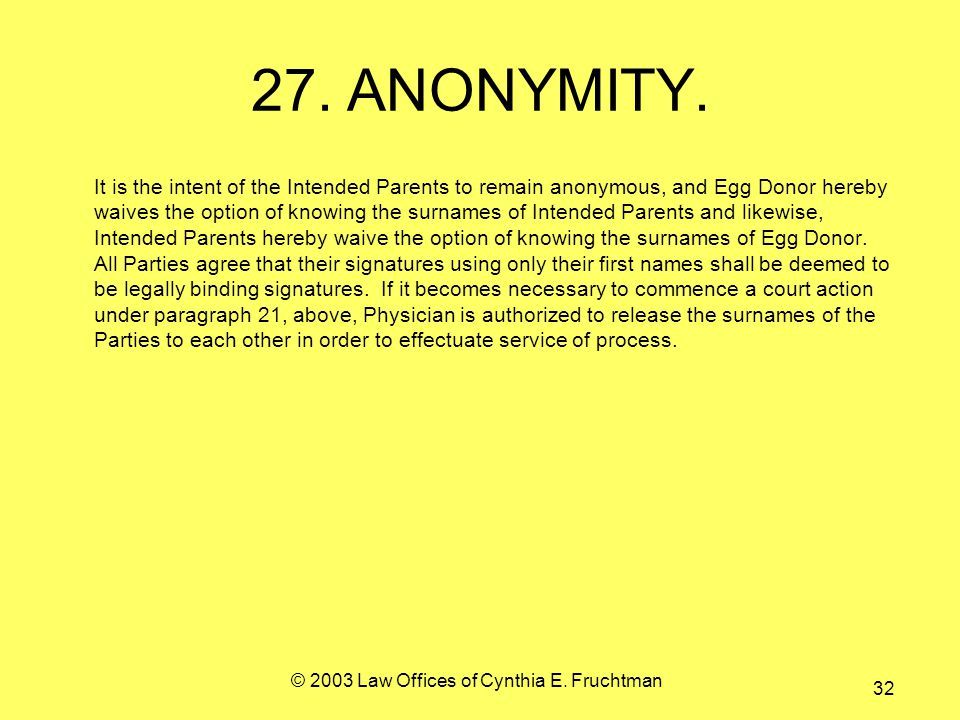 © 2003 Law Offices of Cynthia E. Fruchtman 32 27.ANONYMITY.