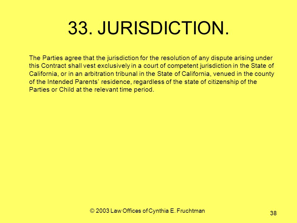 © 2003 Law Offices of Cynthia E. Fruchtman 38 33.JURISDICTION.