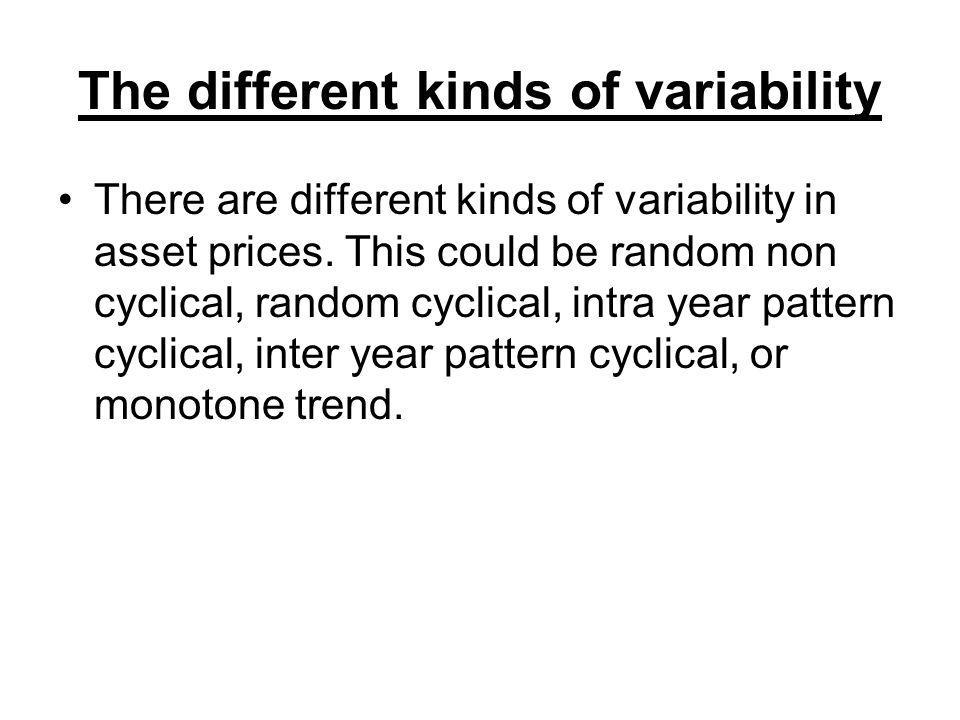 The different kinds of variability There are different kinds of variability in asset prices.